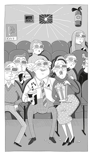 Iris Amaya Illustration - iris, amaya, iris amaya, illustrator, black and white, b & w, fiction, young readers, line work, digital, movie, theatre, cinema, man, woman, people, 3d, glasses, popcorn, film, shocked, outing, seats, activity