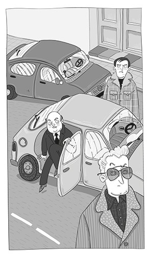 Iris Amaya Illustration - iris, amaya, iris amaya, illustrator, black and white, b & w, fiction, young readers, line work, digital, cars, road, street, men, suspicious, sunglasses, bad guys, sneaky, coats, characters