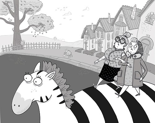 Iris Amaya Illustration - iris, amaya, iris amaya, illustrator, black and white, b & w, fiction, young readers, line work, digital, women, old, ladies, zebra, animal, wild, crossing, zebra crossing, houses, street, trees, road, cross, walking, crossing, funny,