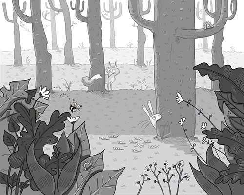 Iris Amaya Illustration - iris, amaya, iris amaya, illustrator, black and white, b & w, fiction, young readers, line work, digital, woods, nature, forest, wild, trees, animals, rabbit, fox, plants, leaves, grass, hiding,