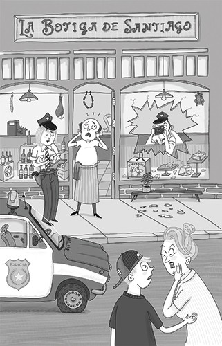 Iris Amaya Illustration - iris amaya, illustrator, black and white, b & w, fiction, young readers, line work, digital, shops, town, street, buildings, busy, break in, robbery, glass, broken, police, police car, car, shocked, owner, police officer, officer, camera, characters, men,
