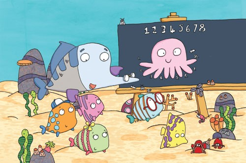 Ian Smith Illustration - ian, smith, ian smith, digital, commercial, sweet, young, picture book, picture book, fiction, educational, cute, animals, fish, octopus, water, underwater, sea, ocean, learning, class,teacher, students, pupils