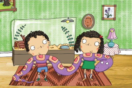Ian Smith Illustration - ian, smith, ian smith, digital, commercial, sweet, young, picture book, picture book, fiction, educational, cute, YA, children, child, animal, snake, people, person, figures, figurative, pattern, house, living room