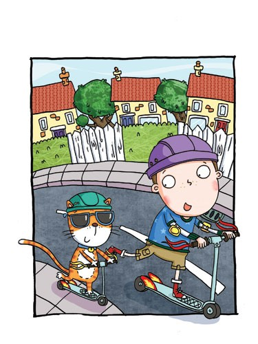 Ian Smith Illustration - ian, smith, ian smith, digital, commercial, sweet, young, picture book, picture book, fiction, educational, boy,child, person, figure, figurative, cat, animal, friends, friendship, houses, road, buildings, scooter, YA, colourful