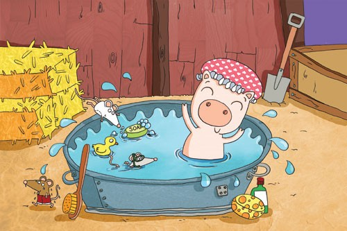 Ian Smith Illustration - ian, smith, ian smith, digital, commercial, sweet, young, picture book, picture book, fiction, educational, pig, animal, water, bath, mouse, mice, swimming, swim, shovel, hey