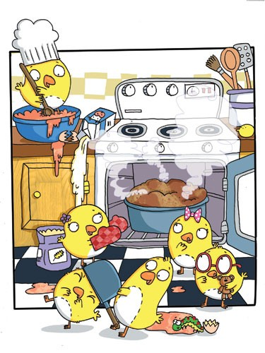 Ian Smith Illustration - ian, smith, ian smith, digital, commercial, sweet, young, picture book, picture book, fiction, educational, chick, animals, cute, play, play time, cooking, baking, kitchen, oven, making, food