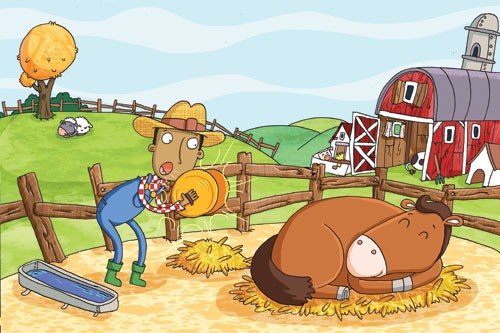 Ian Smith Illustration - ian, smith, ian smith, digital, commercial, sweet, young, picture book, picture book, fiction, educational, horse, animal, man, figure, figurative, person, cowboy, farm, barn, sheep, colouful, hill, sleep, sleeping
