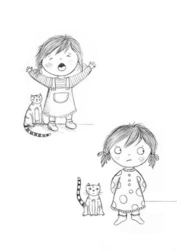 Jessica Allan Illustration - jessica, allan, jessica allan, commercial, educational, fiction, mass market, value, greetings cards, funny, picture book, young reader, YA,pencil, sketches, little girl, girl, cat, cute, sweet, dress,