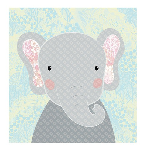 Jessica Allan Illustration - jessica, allan, jessica allan, commercial, educational, fiction, mass market, value, licensing, greetings cards, funny, YA, painted, digital, photoshop, pattern, elephant, cute, sweet, card, young
