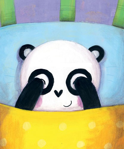 Judi Abbot Illustration - judi, abbot, judi abbot, acrylic, paint, painted, traditional, commercial, picture book, picturebook, sweet, cute, animal, pandas, mummy, baby, bed, bed time, pattern, cushion