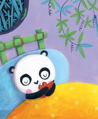 Judi Abbot Illustration - judi, abbot, judi abbot, acrylic, paint, painted, traditional, commercial, picture book, picturebook, sweet, cute, animal, pandas, baby, bed time, toy, mouse, bed, bedroom