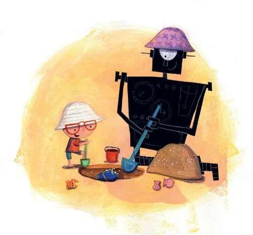 Judi Abbot Illustration - judi, abbot,  judi abbot, acrylic, paint, painted, traditional, commercial, picture book, picturebook, sweet, cute, boy, child, person, figure, figurative, robot, play, friends, friendship, sand, bucket, spade
