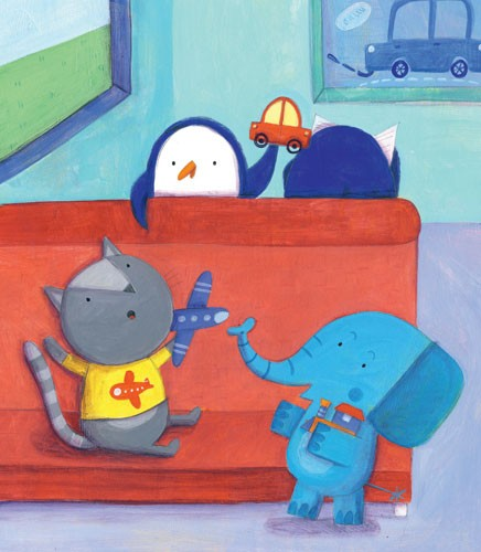 Judi Abbot Illustration - judi, abbot,  judi abbot, acrylic, paint, painted, traditional, commercial, picture book, picturebook, sweet, cute, animals, elephants, penguins, cats, toys, play, playing, friends,friendship