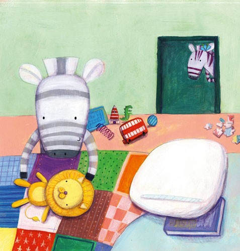 Judi Abbot Illustration - judi, abbot, judi abbot, acrylic, paint, painted, trade, traditional, commercial, picture book, picturebook, sweet, cute, animals, zebra, bed, toy, cosy, playing, bus, toys, patchwork