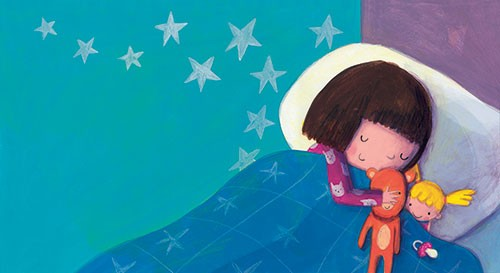 Judi Abbot Illustration - judi, abbot, judi abbot, acrylic, paint, painted, trade, traditional, commercial, picture book, picturebook, sweet, cute, girl, night, stars, sleep, room, bedroom, sleep, duvet, blanket, teddy, doll