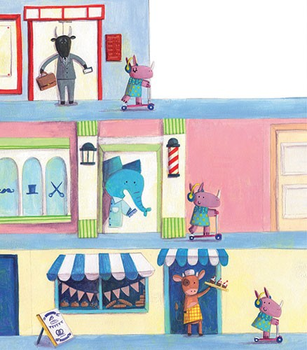 Judi Abbot Illustration - judi, abbot, judi abbot, acrylic, paint, painted, trade, traditional, commercial, picture book, picturebook, sweet, cute, animals, rhino, street, road, town, busy, scooter, bull, suit, smart, elephant, cow, business, barbers, hair cut, cake, bunting, flag