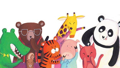 Judi Abbot Illustration - judi, abbot, judi abbot, acrylic, paint, painted, trade, traditional, commercial, picture book, picturebook, sweet, cute, animals, crocodile, bear, tiger, giraffe, pig, panda, cat