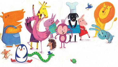 Judi Abbot Illustration - judi, abbot, judi abbot, acrylic, paint, painted, trade, traditional, commercial, picture book, picturebook, sweet, cute, animals, rhino, giraffe, elephant, flamingo, mouse, pig, penguin, snake, monkey, hedgehog, lion, rabbit