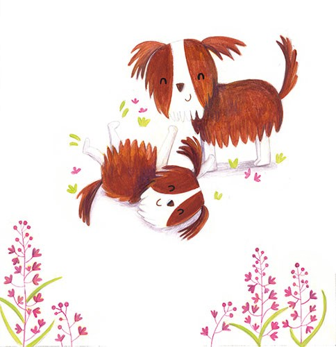 Judi Abbot Illustration - judi, abbot, judi abbot, acrylic, paint, painted, trade, traditional, commercial, picture book, picturebook, sweet, cute, animals, dogs, puppies, family, playing, friends, flowers, nature, fun,