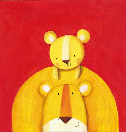 Judi Abbot Illustration - judi, abbot, judi abbot, acrylic, paint, painted, trade, traditional, commercial, picture book, picturebook, sweet, cute, animals, lions,  mum, baby, family, hug, snuggle, carry, young,