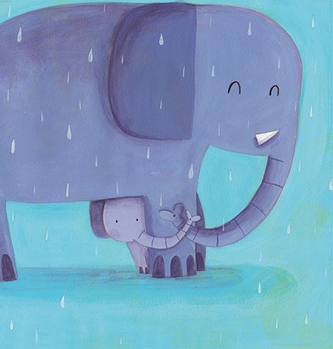 Judi Abbot Illustration - judi, abbot, judi abbot, acrylic, paint, painted, trade, traditional, commercial, picture book, picturebook, sweet, cute, animals, elephants, rain, water, drops, hug, cold, wet, family, snuggle