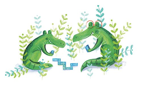 Judi Abbot Illustration - udi, abbot, judi abbot, acrylic, paint, painted, trade, traditional, commercial, picture book, picturebook, sweet, cute, animals, alligators, crocodiles, dominoes, game, playing, fun, glasses, friends,