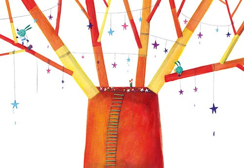 Judi Abbot Illustration - udi, abbot, judi abbot, acrylic, paint, painted, trade, traditional, commercial, picture book, picturebook, sweet, cute, animals, bunnies, rabbits, tree, stars, decorating, colourful, magic, friends, colour, nature, ladder