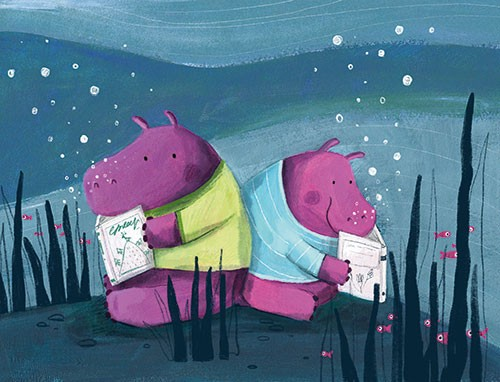 Judi Abbot Illustration - udi, abbot, judi abbot, acrylic, paint, painted, trade, traditional, commercial, picture book, picturebook, sweet, cute, animals, hippos, water, sea, ocean, underwater, books, reading, bubbles, seaweed, fish, clothes, friends, nature,