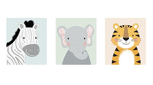 Jessica Allan Illustration - essica, allan, jessica allan, commercial, educational, fiction, mass market, value, greetings cards, funny, picture book, young reader, YA, painted, digital, photoshop, pattern, animals, zebra, giraffe, elephant, cute, wildlife,