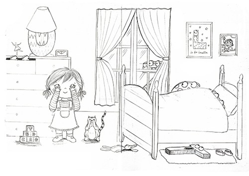 Jessica Allan Illustration - essica, allan, jessica allan, commercial, educational, fiction, mass market, value, greetings cards, funny, picture book, young reader, pencil, pen, black line, girl, scared, room,