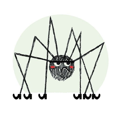 Julio Antonio Blasco Illustration - julio antonio blasco, picture book, colour, colourful, digital, photoshop, texture, print, paint, traditional, fiction, character, animal, insect, spider, arachnid, grumpy, legs, boots, shoes, funny, halloween, spooky, seasonal, festive, fall, autumn,
