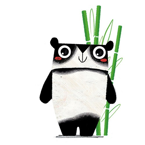 Julio Antonio Blasco Illustration - julio antonio blasco, picture book, colour, colourful, digital, photoshop, texture, print, paint, traditional, fiction, animal, wild, character, panda, happy, smile, cute, sweet, jangle, bamboo, plants, bear,