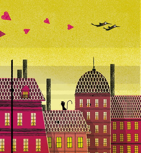 Julio Antonio Blasco Illustration - julio antonio blasco, julio, antonio blasco, illustrator, picture book, colour, colourful, digital, photoshop, texture, print, sky, buildings, roof, birds, flying, love, free, fly, cat, windows, houses, landscape, town, city, sunset, beautiful, hearts, lo