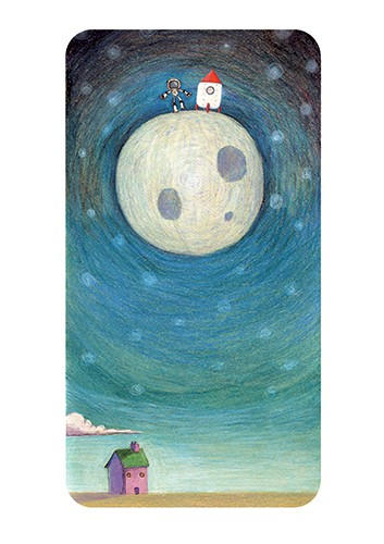 Jon Bishop Illustration - on, bishop, jon bishop, handdrawn, painted, picturebook, YA, young reader, texture, boy, child, person, moon, nighttime, clouds, rocket, spaceman, coloured pencils, house