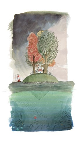 Jon Bishop Illustration - on, bishop, jon bishop, handdrawn, painted, picturebook, YA, young reader, texture, house, lighthouse, late, water, tree, trees, storm, weather