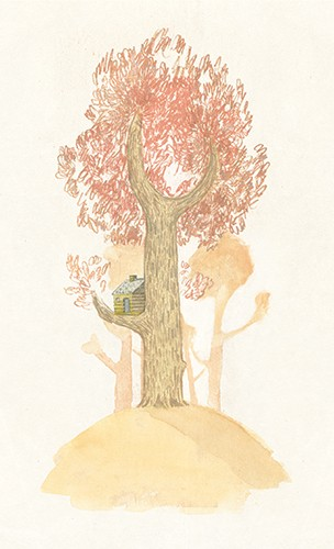 Jon Bishop Illustration - on, bishop, jon bishop, handdrawn, painted, picturebook, YA, young reader, texture, boy, tree, house, hill, painterly, coloured pencils