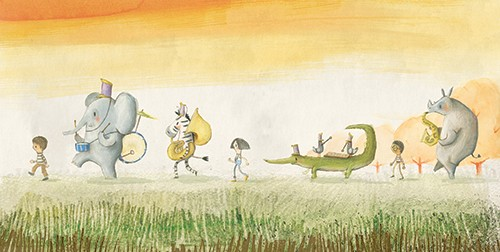 Jon Bishop Illustration - on, bishop, jon bishop, handdrawn, painted, picturebook, YA, young reader, texture, boy, child, person, animals, marching band, crocodile, zebra, elephant, hippo, band, instruments, trees, grass, painterly