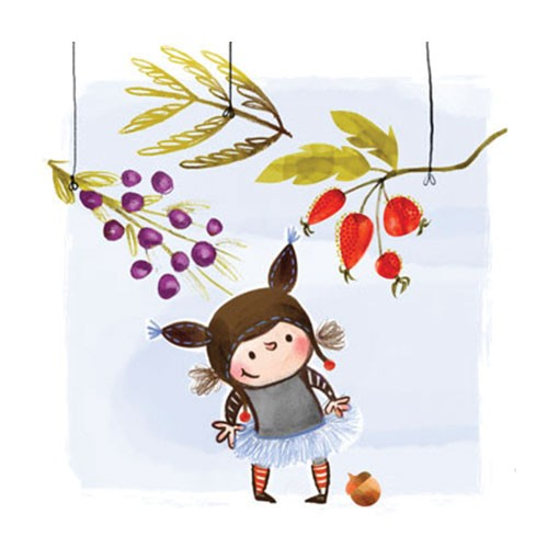 Jana Curll Illustration - jana, curll, jana curll, commercial, education, fiction, mass market, value, picture book, greetings card, sweet, girl, cute, young, traditional, pen, ink, watercolour, coloured pencil, winter, girl, fairy, woodland, berries, strawberries, acorn, hat, tig