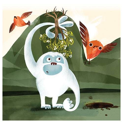 Jana  Curll Illustration - jana, curll, jana curll, commercial, education, fiction, young reader, picture book, mass market, value, cute, young, photoshop, digital, illustrator, yeti, birds, mountains, mistletoe, bird, rocky, rocks, cute