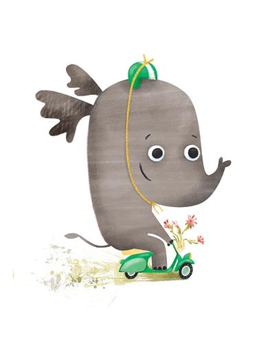 Jana Curll Illustration - jana, curll, jana curll, commercial, education, fiction, young reader, picture book, mass market, value, sweet, cute, young, photoshop, digital, illustrator, elephant, hat, helmet, humour, funny, bike, moped, motorcycle, flowers, basket, fast, speed, spee