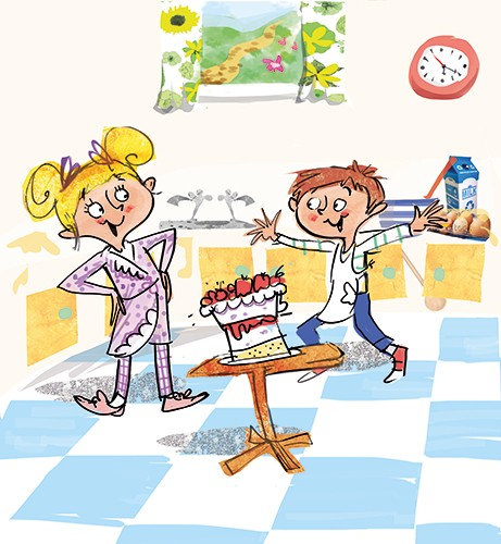 Janet Cheeseman Illustration - anet, cheeseman, janet cheeseman, commercial, educational, fiction, mass market, value, greetings cards, funny, picture book, young reader, YA, painted, digital, photoshop, pen, line, black line, girl, boy, friends, pjs, pyjamas, cake, kitchen, baking, ba