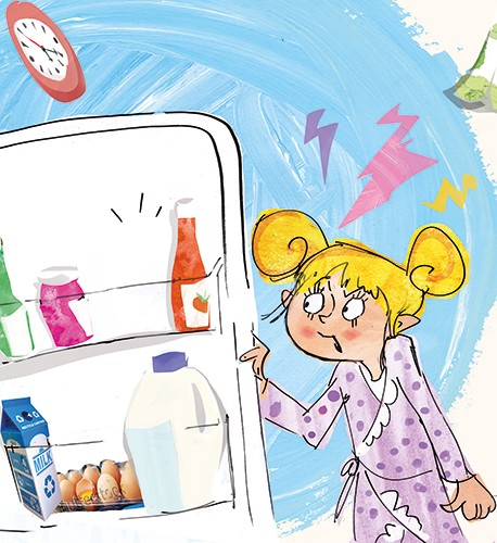 Janet Cheeseman Illustration - janet, cheeseman, janet cheeseman, commercial, educational, fiction, mass market, value, greetings cards, funny, picture book, young reader, YA, painted, digital, photoshop, pen, line, black line,  girl, pjs, pyjamas, ben, night, fridge, kitchen, home, ho