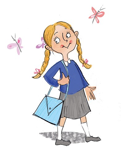Janet Cheeseman Illustration - janet, cheeseman, janet cheeseman, commercial, educational, fiction, mass market, value, greetings cards, funny, picture book, young reader, YA, painted, digital, photoshop, pen, line, black line, girl, cute, school, uniform, school uniform,  new school,