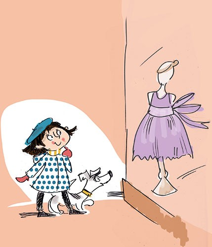 Janet Cheeseman Illustration - janet, cheeseman, janet cheeseman, commercial, dog, educational, fiction, mass market, picture book, young reader, YA, painted, digital, photoshop, pen, line, black line, girl, shopping, window, dress, coat, cute, sweet, young
