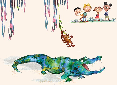 Janet Cheeseman Illustration - janet, cheeseman, janet cheeseman, commercial, educational, fiction, mass market, picture book, young reader, YA, painted, digital, photoshop, crocodile, animal, monkey, children, people, colourful