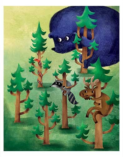 Jana  Curll Illustration - jana, curll, jana curll, commercial, education, fiction, young reader, picture book, mass market, value, sweet, cute, young, photoshop, digital, illustrator, animals, bear, racoon, wildlife, moose, antlers, trees, woods, hiding, snake, forest