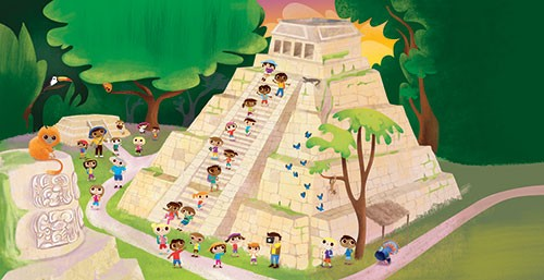 Jana  Curll Illustration - jana, curll, jana curll, commercial, education, fiction, young reader, picture book, mass market, value, sweet, cute, young, photoshop, digital, illustrator, pyramid, ruins, trees, forest, woods, monkeys, bricks, people, characters, tourists, holiday, sun,