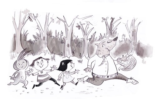 Janet Cheeseman Illustration - janet, cheeseman, janet cheeseman, commercial, educational, fiction, mass market, value, greetings cards, funny, dress up, woods, running, play, playing, tree, trees, forrest, child, children, black and white, black, white, basket, ink, paint boys, child,