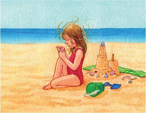 Jennifer Hall Illustration - jennifer hall, jennifer, hall, watercolour, traditional, painted, educational, picture book, commercial, people, children, girls, beach, ocean, swim, sand, castle,