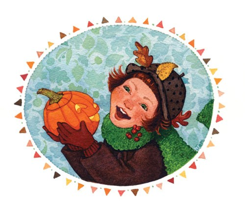 Jennifer Hall Illustration - jennifer hall, jennifer, hall, watercolour, traditional, painted, educational, picture book, commercial, people, children, fiction, girls, halloween, pumpkin
